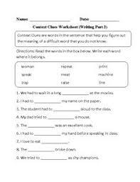 context clues worksheet writing part 1 intermediate free