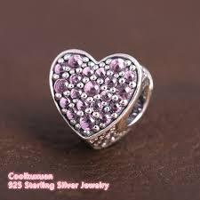 s day charm bracelet 2017 s day pink cz stones dazzling heart fit brand