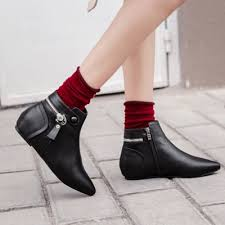 s zipper ankle boots pointed toe flat heels height increasing side zipper ankle boots