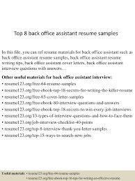 Sample Objectives In Resume For Ojt Business Administration Student by Top8backofficeassistantresumesamples 150507081223 Lva1 App6891 Thumbnail 4 Jpg Cb U003d1430986394