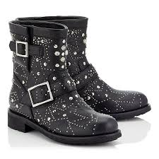 black leather biker boots black leather biker boots with graphic star studded embellishment