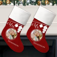 and mrs personalized photo christmas stocking for couples