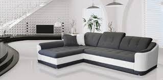 photo de canapé canapé d angle convertible à gauche bray pu blanc gris
