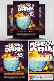 fish bowl and drink flyer template free download photoshop