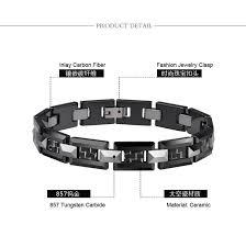 ceramic link bracelet images Hign quality men 39 s black ceramic and tungsten h style link jpg
