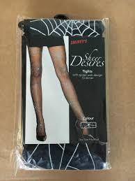 ladies womens spider web design tights halloween fancy dress accessory