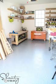 one car garage workshop diy workbench free plans shanty 2 chic