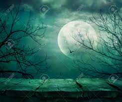 blue halloween background halloween background spooky forest with full moon and wooden