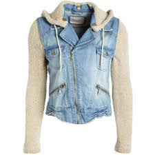 jean sweater jacket denim vest with sweater sleeves on the hunt
