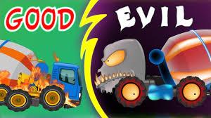 monster trucks videos on youtube good vs evil mixer truck scary monster trucks for children