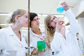 Lab Chemist Three Researchers Chemistry Students Carrying Out Research In
