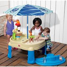 step 2 sand and water table step2 sail away adventure sand water table with umbrella step