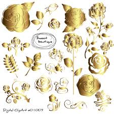 Gold Rose Gold Rose Clipart Rose Flowers Clipart Floral Bouquet Gold