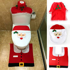 santa toilet seat cover with rug bathroom mat set planet of