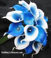 blue lilies touch bouquet royal blue calla ntbroyalcalla