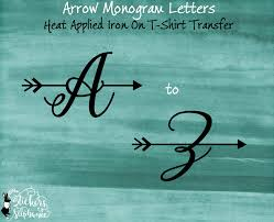 Monogramed Letters Arrow Iron On Monogram Letter Letters T Shirt Transfer Stickers