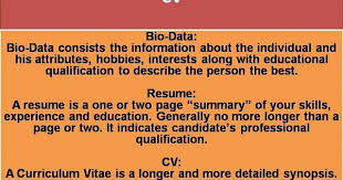 Whats The Difference Between Cv And Resume Difference Between Biodata And Resume Resume Ideas