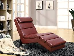 Leather Chaise Lounge Chair Red Leather Chaise Lounge Chair With Cushioned Head On Lush Black