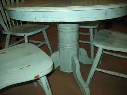 Blue Table Painting by Distressed Painted Round Dining Table