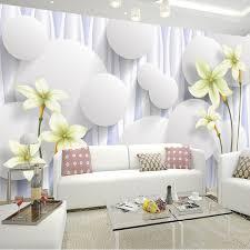 papier peint design chambre taille personnalisée 3d stéréo creative blanc boules fleurs photo