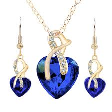 wedding necklace gifts images Buy generic necklace earrings elegant heart shaped rhinestone jpg
