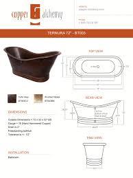 drop in rectangular copper bathtub 72 x 36 x 22 5 bt002cv