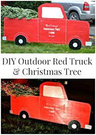 outdoor christmas decorations diy red truck u0026 christmas tree