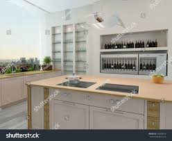 kitchen central island modern new kitchen interior built wall stock illustration