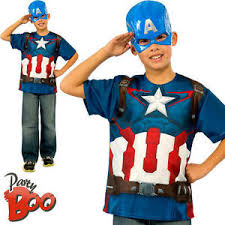 Captain America Halloween Costume Kids Captain America Shirt Ages 8 9 10 Boys Fancy Dress Kids