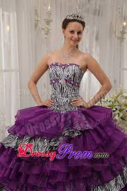 ruffled layers purple quinceanera gown dresses of zebra