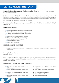 Smart Resume Sample by Resume Resume For Child Care