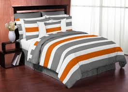 sweet jojo designs gray and orange stripe collection 3pc full