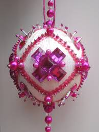 satin beaded ornament kit bejeweled snowball via etsy