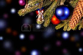 Christmas Light Balls For Trees Black Christmas Background With Fir Branch And Balls Stock Photo