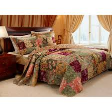 queen quilt u0026 pillow sham bed set shabby farm country cottage