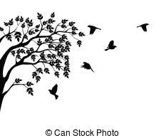 vector illustration of tree silhouette with birds flying vectors
