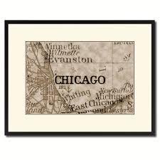 chicago illinois vintage sepia map canvas print picture frame