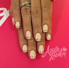 gold line and beige neutral nail design summer nail art