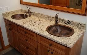 bathroom granite countertops ideas maple vanity and beige colored granite countertop ideas using