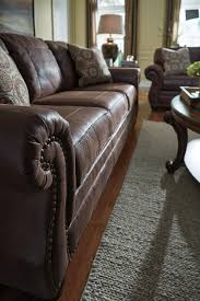 Leather Sofa Sleeper Queen by Faux Leather Queen Sofa Sleeper With Rolled Arms And Nailhead Trim