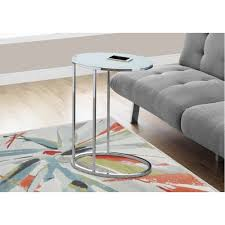 Oval Accent Table Table Oval Chrome Frosted Tempered Glass