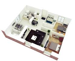 2 Bedroom Flat Plan 3d
