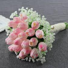 tulip bouquets simple noble bridal bouquet pink tulips ivory gypsophila
