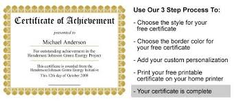 free customizable printable certificates of achievement templates