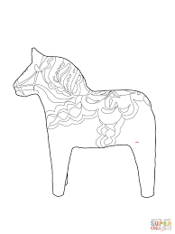 dala horse coloring page coloring site 3202