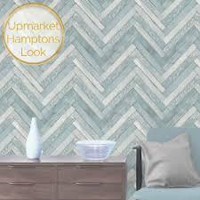 beachy blue herringbone parquetry wood wallpaper hamptons coastal