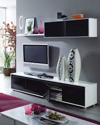 black and white gloss tv cabinet with wall unit