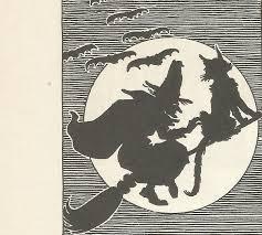 vintage children u0027s book illustration halloween witch moon black