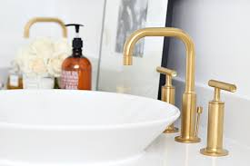 Gold Faucet Bathroom by Our Kohler Tailored Vanity And Fixtures Bliss At Home
