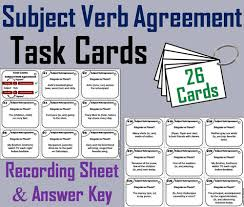 subject verb agreement task cards by sciencespot teaching